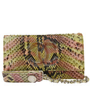 Auth Cc Logo Chain Bifold Wallet Purse Python Leather Ivory Pink 10lb156