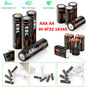 Usb Aa Aaa 9v 16340 Battery 1.5v Lithium Ion Rechargeable Batteries + Cable Lot