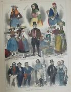 Colored Wood Engraving Hamburger Types Costume Four Countries Helgoland After E