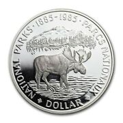 Canadian Canada 1985 National Parks Moose .500 Silver Dollar Proof .375asw Coin