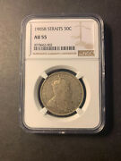 Straits Settlements Silver 50 Cents 1905 About Uncirculated Ngc Au55