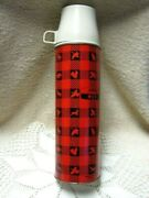 Vintage 1960and039s One Quart Winchester Hunting Plaid Thermos King Seeley Quart