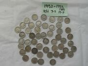 1952 And 1953 Roosevelt Dime Rolls 50 Count 90 Silver Us Coins