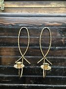 Set Of 2 Vintage Mcm Twisted Metal Rope Candle Wall Sconces Retro 12 Tall