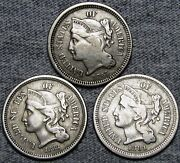 1865 1868 1881 Copper Nickel Three Cent Piece Type Coin Nice Lot ---- L721