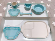 Le Creuset Baby Tableware 7-piece Set Blue Stoneware Used Kitchen And Dining
