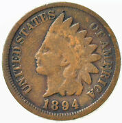 1894 Indian Head Bronze One Cent 1c Us Penny Good Coin
