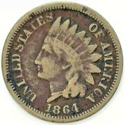 1864 Indian Head Copper Nickel Penny One Cent 1c Us Very Good Coin