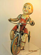 Kiddy Cyclist Tricycle, Usa Unique Art Vintage Wind Up Toy