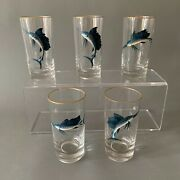 Vintage Ned Smith Saltwater Fish Barware, Gold Rimmed, Glass Set Of 8