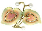 0.21ct Diamond Natural Pearl And Enamel 18k Yellow Gold Brooch Antique Victorian