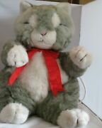 Vintage 1986 Telco Motion-ette Animated Christmas Gray White Cat Plush W/ Tags