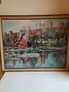 Peter Hayward Print Country Scene With Water Wheel By Barn Framed