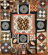 Spectacular Vintage 1870and039s Medallion Sampler Antique Quilt Vibrant Early Fabric