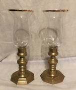 Set Of 2 Vintage Andrea By Sadek Brass Candle Holders With Glass Lamp Shades