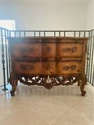 Beautiful Wooden Dresser With Three Curved Drawers, Wood Carvings, Metal Handles