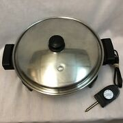 Saladmaster 12 Electric Skillet Stainless Steel Oil Core Frying Pan W/cord/lid