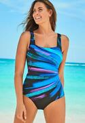 Swimsuits For All Women's Plus Size Square Neck One Piece Swimsuit