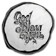 1/2 Oz 9fine Mint Hand Poured Lucky Piece God Bless You .999 Silver Art Round