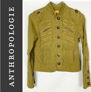 Tulle Anthropologie Green Military Jacket W/ Sequin Accents Size M