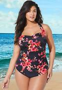 Swimsuits For All Women's Plus Size H-back Sarong Front One Piece Swimsuit