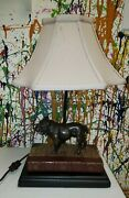 Bulldog Sculpture Table Lamp Hand Painted - Ok Casting Vintage Lamp Working