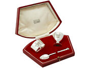 Sterling Silver 3 Piece Christening Set By R.e.stone - Art Deco Style - Antique