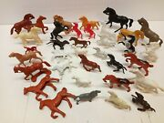 Vintage Lot 35 Toy Horses Plastic Rubber Horse Tim Mee Toys