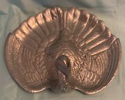 Large Handcrafted Silver Metal Turkey Shaped Serving Platter Made In Mexico