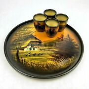Vintage Hand Painted German Pottery Shot Glass And Tray Set