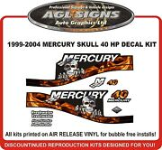 1999 - 2004 Mercury Flame Skull 40 Hp Outboard Decal Kit 50 60 Hp