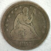 1857 Silver Seated Liberty Quarter 25c Us Coin Vg Circulated Philadelphia Mint