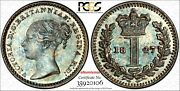 Great Britain Victoria Silver 1847 1 Penny Pcgs Pl64 Proof Like Km 727 106
