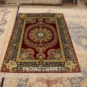 Yilong 4and039x6and039 Antique Hand-knotted Area Rug Red Hand Woven Villa Carpet P010a