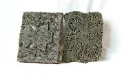 2-pc Old Wood Hand Carved Home Decor Printing Mold Block / Stamp Pieces Bj-58