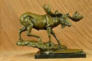 Beautiful Solid Bronze Stags Signed Bugatti Moose Elk Statues Antique Look