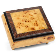 Hand Crafted Italian Inlaid Maple Pioppo Tone 4 Inches Wood Jewelry Music Box