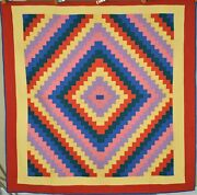 Gorgeous Vintage 40and039s Amish Streak Of Lightning Antique Quilt Great Colors