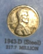 1943 D Lincoln Wheat Cent Denver Mint Steel Penny