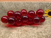 Vintage Large Red Resin Lucite Grape Cluster On Wood Branch Mid Century