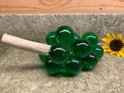 Vintage Large Green Resin Lucite Grape Cluster On Wood Branch Mid Century