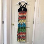Arden B. Butterfly Wing Maxi Dress Xs Criss Cross Back Made In Usa