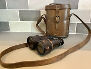 Antique Ww1 British Army Issue Military Binoculars, Lemaire Paris, Leather Cased