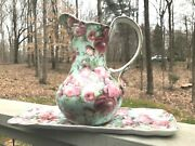Vintage Formalities Baum Bros 10 Pitcher Rose Chintz Collection + Serving Tray