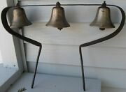 Antique Spectacular Set Of 3 Large Brass Bells On Rack For Horse Carriage/sled