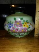 Antique /vintage Hand Painted Lamp Shade Green With Posies