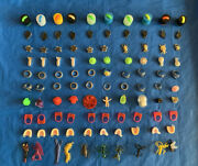 100 Pcs Plastic And Rubber Gumball Charms Trinkets Prizes Toys Retired Nos