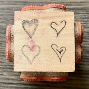 Judikins 6572 H 4 In 1 Hearts Wooden Rubber Stamp 1999 Valentines Day