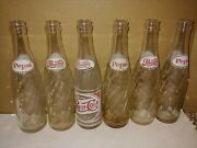 Six Vintage 1960's Pepsi-cola 8 Ounce Clear Glass Acl Swirl Two-sided Bottles