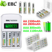 Ebl 800/1100/2300/2800mah Aa Aaa Ni-mh Rechargeable Batteries / Lcd Charger Lot
